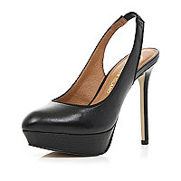 Black platform sling back stilettos