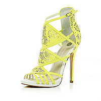 Lime laser cut high-vamp stiletto sandals