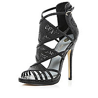 Black laser cut high-vamp stiletto sandals