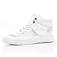 White mesh insert high tops