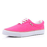 Bright pink canvas lace up trainers
