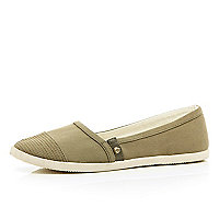 Khaki stud slip on pumps