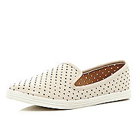 Beige perforated sporty slipper shoes
