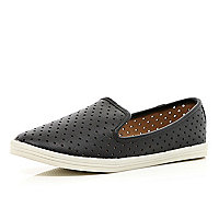 Black laser cut perforated slipper shoes