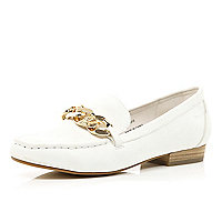 White chain front loafers