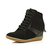 Black contrast panel fringed wedge high tops