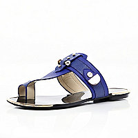 Blue metal trimmed toe loop sandals