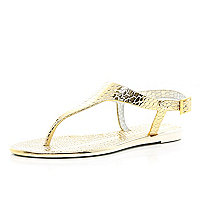 Gold croc metallic T bar jelly sandals