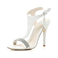 White diamante strap stiletto sandals