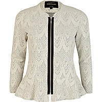 Cream lace jacquard peplum jacket