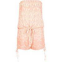Pink print strapless playsuit