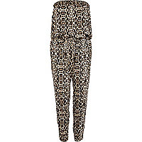 Brown animal print strapless jumpsuit