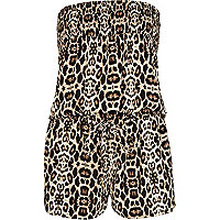 Brown leopard print strapless playsuit