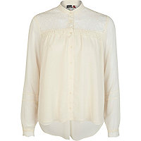 Cream Chelsea Girl lace yoke blouse