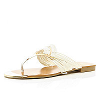 White metal fan toe post sandals