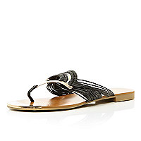 Black metal fan toe post sandals