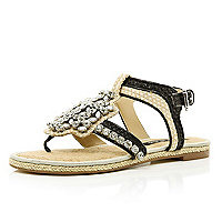 Black gem stone embellished raffia sandals