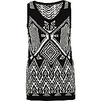 Black and white tribal pattern knitted vest