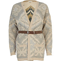 Cream aztec reverse pattern belted cardigan