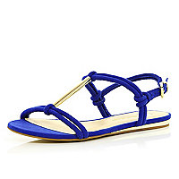 Blue metal T bar sandals