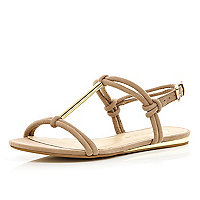 Beige metal T bar sandals