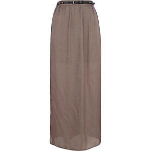 Green side split belt maxi skirt