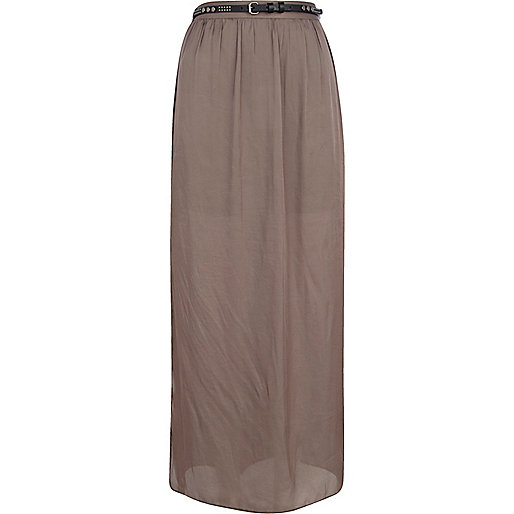 Green side split belt maxi skirt