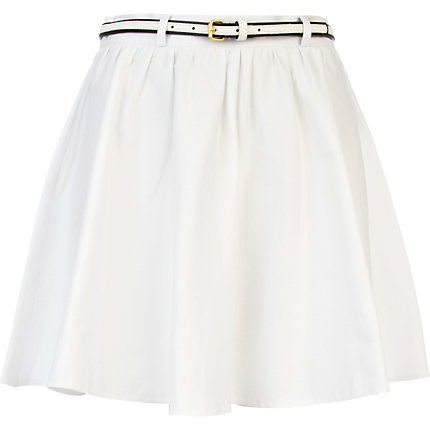 White belted skater skirt
