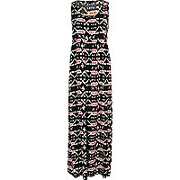 Black aztec print sleeveless smock maxi dress
