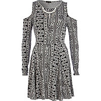 Grey aztec print cold shoulder skater dress