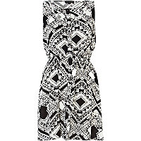Black print sleeveless aztec cut out dress