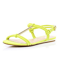 Yellow metal T bar sandals