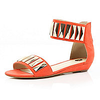 Coral metal plate embellished sandals