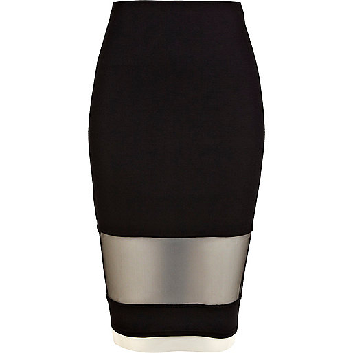 Black mesh insert pencil tube skirt