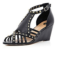 Black studded cage wedge sandals