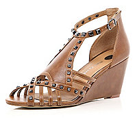 Brown studded cage wedge sandals