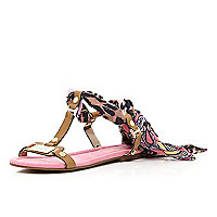 Brown Pacha printed scarf tie sandals