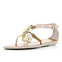 Cream Pacha tassel T bar jelly sandals