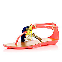 Orange Pacha tassel T bar jelly sandals