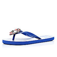 Bright blue jewel embellished flip flops