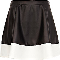 Black and white block coated skater skirt