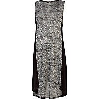 Grey space dye contrast panel tunic dress