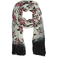 Cream rose print ombre lightweight scarf