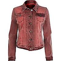 Red faded embroidered pocket denim jacket