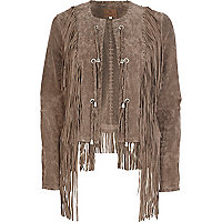 Beige suede fringed unfastened jacket