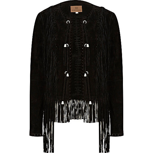 Black fringed suede jacket