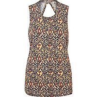Beige print twist back vest top