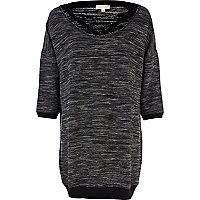 Black space dye cut out neck tunic