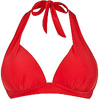Red moulded cup push-up bikini top