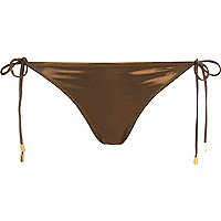 Bronze metallic tie side bikini bottoms